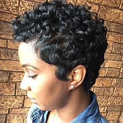 billige Lågløs-Human Hair Capless Parykker Menneskehår Krøllet Jerry Krølle Til sorte kvinder Afro-amerikansk paryk Kort Maskinproduceret Paryk Dame