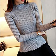 Damen Standard Pullover-Lässig/Alltäglich Einfach Solide Rundhalsausschnitt Langarm Nylon Frühling Dünn Mikro-elastisch