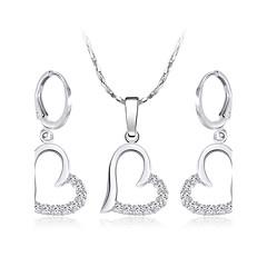 Dame Dråpeøreringer Halskjede Kubisk Zirkonium Kjærlighed Hjerte Sølvplett Hjerte Formet Øreringer Halskjede Til Bryllup Engasjement
