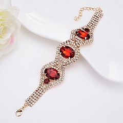 baratos -Mulheres Bracelete Cristal Gema Estilo simples Elegant Cristal Liga Formato Oval Jóias Para Casual Formal