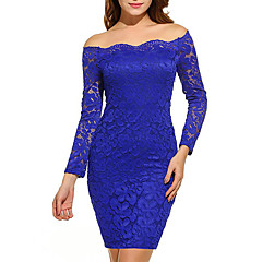 Women's Off Shoulder Plus Size Party / Holiday / Going out Sexy / Elegant Bodycon Dress - Solid Colored Lace Off Shoulder Spring Purple Wine Royal Blue XL XXL XXXL / Slim