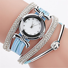 cheap Women's Watches-Women's Quartz Simulated Diamond Watch Bracelet Watch Chinese Imitation Diamond PU Band Casual Bohemian Elegant Fashion Black White Blue