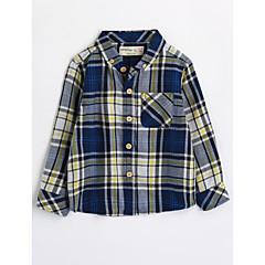 billige Overdele til drenge-Børn Drenge Houndstooth mønster Langærmet Bomuld Skjorte