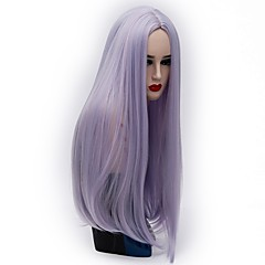 cheap Wigs & Hair Pieces-women synthetic wig capless long kinky straight bright purple gold pink silver purple black yellow halloween wig costume wigs Halloween