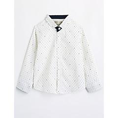 baratos Roupas de Meninos-Infantil Para Meninos Estampado Manga Longa Algodão Camisa Branco 110