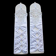 Stretch Satin Elbow Length Glove Luxury Bridal Gloves With Embroidery Pleated Pearls Bow