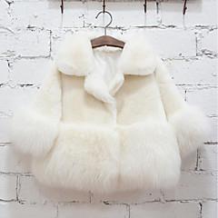 billige Jakker og frakker til piger-Børn Pige Ensfarvet Langærmet Normal Imiteret pels / Speciel pelstype Jakke og frakke Hvid