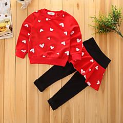 billige Tøjsæt til piger-Pige Tøjsæt Geometrisk, Bomuld Forår Efterår Langærmet Blomster Pænt tøj Rød Lyserød Marineblå