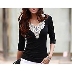 Damen Stickerei - Freizeit Ausgehen T-shirt, V-Ausschnitt Schwarz & Weiß