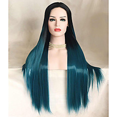 baratos Perucas Sintéticas-Perucas Lace Front Sintéticas Liso Cabelo Sintético Azul Peruca Mulheres Longo Frente de Malha