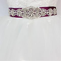Saten/Tül Düğün Özel Anlar Kuşak With Taşlı İmistasyon İnci Aplik