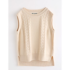 tanie Odzież dla dziewczynek-Dzieci Dla dziewczynek Solidne kolory Bez rękawów Bawełna Tanktop / koszulka na ramiączkach Beżowy 110