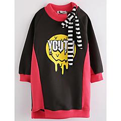 billige Hættetrøjer og sweatshirts til piger-Baby Pige Trykt mønster Langærmet Lang Bomuld Bluse Rosa 100