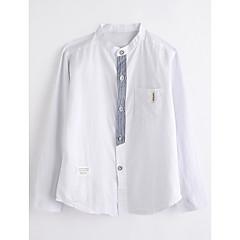 baratos Roupas de Meninos-Infantil Para Meninos Sólido Manga Longa Algodão Camisa Branco 140