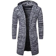 Erkek Günlük/Sade Sade Normal Hırka Solid,Uzun Kollu Kapşonlu Pamuklu Polyester Bahar Sonbahar Kalın Mikro-Esnek