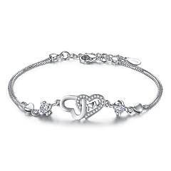 voordelige -Dames Armbanden met ketting en sluiting Kubieke Zirkonia Sterling zilver Hartvorm Sieraden Voor Bruiloft Feest