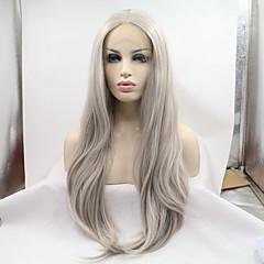 billiga Peruker och hårförlängning-Syntetiska snörning framifrån Rak Middle Part Syntetiskt hår Värmetåligt / Naturlig hårlinje Silver Peruk Dam Lång Spetsfront Grå