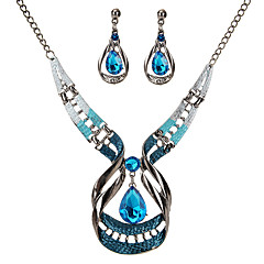 cheap Jewelry Sets-Women's Crystal Jewelry Set - Crystal Drop Vintage, Statement Include Dark Blue For Party / Ceremony / Earrings / Necklace