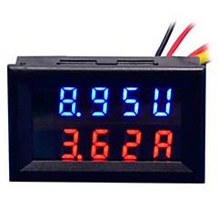 tanie Instrumenty elektryczne-diy praktyczny podwójny 0.28 cala 3 cyfrowy czerwony niebieski wyświetlacz LED miernik prądu stałego (dc 0 - 100v / 50a)