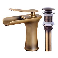 蛇口セット - 滝状吐水タイプ アンティーク銅 センターセット シングルハンドルつの穴Bath Taps