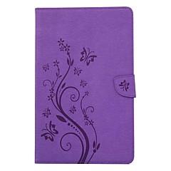 billige Nettbrettetuier-Etui Til Samsung Galaxy Heldekkende etui Tablet Cases Sommerfugl Blomsternål i krystall Hard PU Leather til Tab A 7.0 (2016)