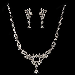 Women's Drop Earrings Necklace Rhinestone Wedding Party Rhinestone Alloy Drop Necklace Earrings