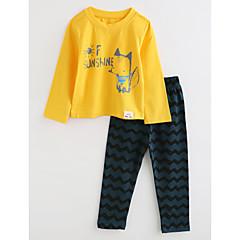 billige Undertøj og sokker til piger-Baby Pige Stribet / Tegneserie Langærmet Bomuld Nattøj