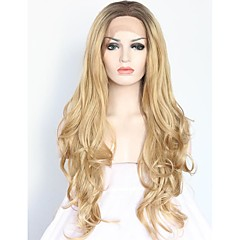 billiga Peruker och hårförlängning-Syntetiska snörning framifrån Syntetiskt hår Svart / Blond Peruk Dam Mellan / Lång Cosplay Peruk / Naturlig peruk / Lolita peruk