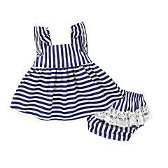 billige Sett med babyklær-Baby Pige Stribet Daglig Helfarve / Stribe Bomuld Tøjsæt Hvid