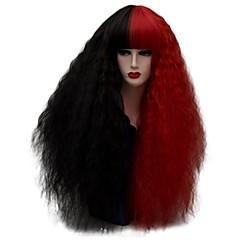 billige Kostymeparykk-Syntetiske parykker / Kostymeparykker Krøllet / Kinky Curly Syntetisk hår Rød / Svart Parykk Dame Lang Cosplay-parykk / Festparykk /