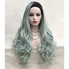 cheap Wigs & Hair Pieces-Synthetic Lace Front Wig Loose Wave Synthetic Hair Green Wig Women's Long Cosplay Wig Lace Front