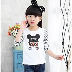 baratos Roupas de Meninas-Infantil Para Meninas Geométrico Manga Longa Algodão Camiseta