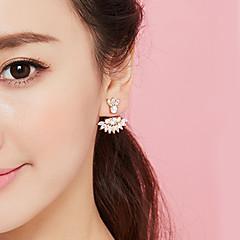 billige Fine smykker-Dame Blomst Kvadratisk Zirconium Zirkonium / Guldbelagt Stangøreringe - Mode Guld Øreringe Til Fest / Forlovelse