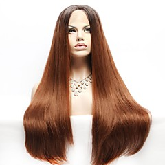 cheap Wigs & Hair Pieces-Synthetic Lace Front Wig Women's Straight Brown with Baby Hair Synthetic Hair Ombre Hair Brown Wig Long Lace Front Black / Brown EEWigs