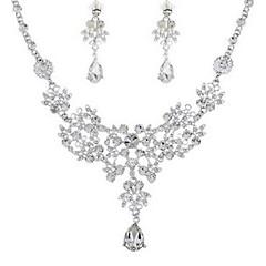 baratos Conjuntos de Bijuteria-Mulheres Conjunto de jóias - Imitações de Diamante Clássico, Fashion Incluir Brincos Compridos Colar Prata Para Noivado Cerimônia