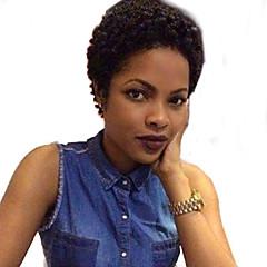billige Lågløs-Human Hair Capless Parykker Menneskehår Jerry Krølle Kinky Curly Afro-amerikansk paryk Kort Maskinproduceret Paryk Dame