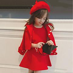 billige Tøjsæt til piger-Pige Gade Ensfarvet Langærmet Normal Polyester Tøjsæt Rød 100