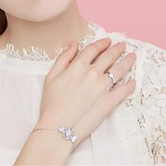 billige Fine smykker-Dame Kvadratisk Zirconium Zirkonium Sølvbelagt Smuk Ringarmbånd - Mode Sød Justérbar Slik Sølv Armbånd Til Gave I-byen-tøj