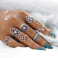 billige Motering-Dame Syntetisk ametyst Geometrisk Ringer Set - Krystall, Legering Dråpe, Blomst Vintage, Bohemsk, Søt En størrelse Sølv Til Fest Gave / 7pcs