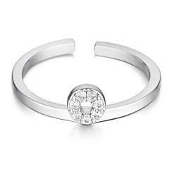 billige Fine smykker-Dame Kvadratisk Zirconium Zirkonium / Plastik / Sølvbelagt Manchet ring - Cirkelformet Simple / Basale / Mode Sølv Ring Til Daglig /
