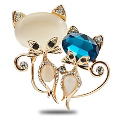 Women's Brooches Cubic Zirconia Rhinestone Sweet Elegant Zircon Alloy Cat Jewelry For Gift Going out