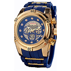 남성용 시계 박스 캐쥬얼 시계 스포츠 시계 패션 시계 드레스 시계 스켈레톤 시계 손목 시계 중국어 석영 달력 크로노그래프 방수 실리콘 고무 밴드 캐쥬얼 멋진 블랙
