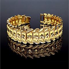billige -Herre Guldbelagt Manchetarmbånd Armbånd - Metallic Vintage Rund Guld Armbånd Til Gave Afslappet