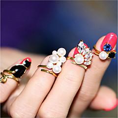 お買い得  ファッションリング-女性用 カフスリング ネイルフィンガーリング ラインストーン 人造真珠 ゴールド 人造真珠 合金 幾何学形 クラシック カジュアル 多色 ステートメントジュエリー ファッション パーティー バー コスチュームジュエリー