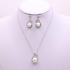 baratos Conjuntos de Bijuteria-Mulheres Conjunto de jóias - Pérola Simples, Elegante Incluir Prata Para Diário Casual