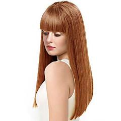 billige Lågløs-Human Hair Capless Parykker Menneskehår Kinky Glat Natural Hairline Lang Maskinproduceret Paryk Dame