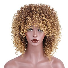 cheap Wigs & Hair Pieces-Synthetic Wig Women's Kinky Curly Brown With Bangs Synthetic Hair African American Wig Brown Wig Short Capless Strawberry Blonde / Medium Auburn