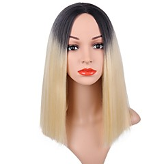 cheap Wigs & Hair Pieces-Synthetic Wig Women's Straight Blonde Bob Synthetic Hair Dark Roots Blonde Wig Short Capless Black / Blonde