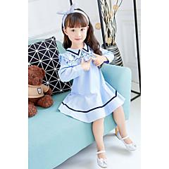 baratos Roupas de Meninas-Menina de Vestido Aniversário Casual Listrado Primavera Outono Algodão Poliéster Manga Longa Simples Fofo Azul