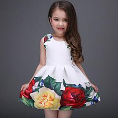 olcso Kids CollectionUnder $8.99-Gyerekek Lány Édes Napi / Szabadság Virágos Nyomtatott Ujjatlan Poliészter Ruha Fehér